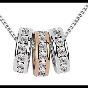 Tri color rings adjustable necklace pendant stones